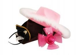 Karneval Hüte:Cowboy Pink & Braun Minihut Pirat
