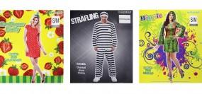 Karneval Da.& He. Kostüm: Erdbeere, Hippi, Sträfling