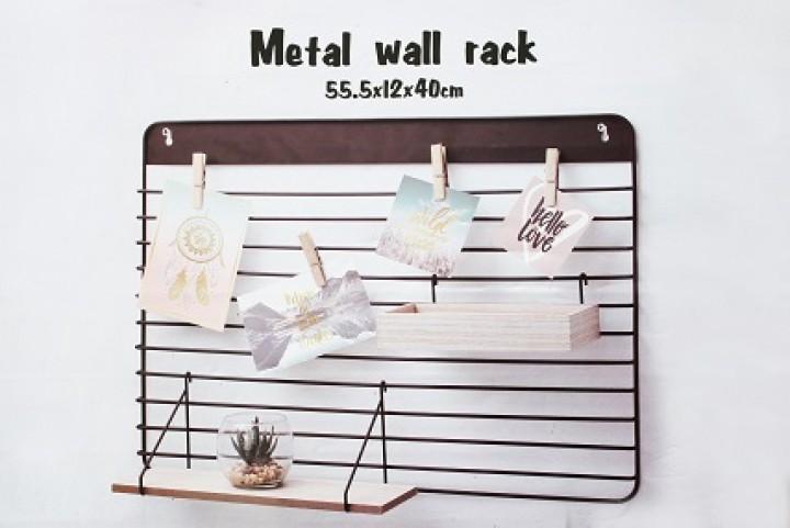 Deko Wandregal deko wandregal aus metall mit holzeinsätzen 55,5x12x40 cm