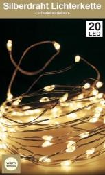 W Lichterkette Silberdraht 20 LED indoor