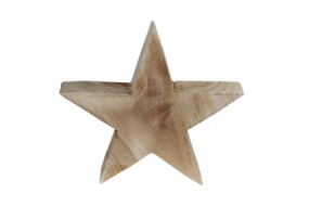 W Deko Stern aus Holz in naturbelassen Hx28cm