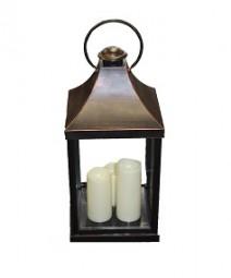 Laterne mit 3 LED Kerzen Hx55cm antikbraun
