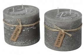 Kerze Rustic mit 3 Dochten Ø12x10cm creme, grau, rot, taupe
