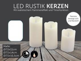 Kerzen Rustik LED 3er Set, mit Timer