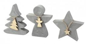 W Deko Figuren aus Beton Stern, Tannenbaum, Engel, klein