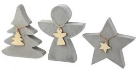 W Deko Figuren aus Beton Stern, Tannenbaum Engel, groß