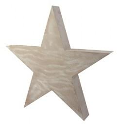 W Deko Stern aus Holz natur Hx60cm