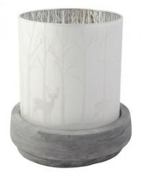 Windlicht aus Glas mit Betonsockel
