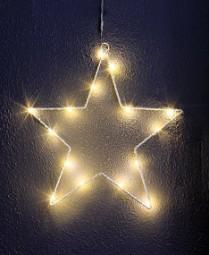 W Metallstern 20 LED mit Saugnapf und Timer 30 cm, weiß