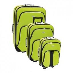 Koffer - Trolley 3er Set aus Polyester neongrün