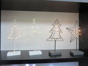 W Metallstern & Metallbaum 10 LED auf Fuß, mit Timer