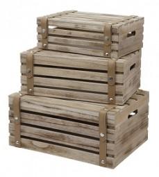 Holzkiste 3er Set mit PVC Riemen