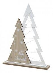 W Holzbäume mit Lichterkette 15LED Hx40cm