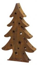 W Weihnachtsbaum Rost mit 2 Teelichthalter Hx60cm
