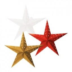 W Weihnachtsstern Papier Ø 60 cm mit 10 LEDs und Timer in rot,gold,weiß