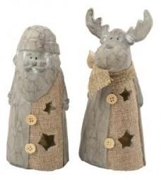 W Dekofigur Weihnachtsmann/ Elch LED Hx19/20cm