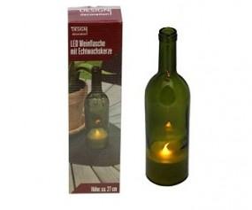 ! Deko Weinflasche mit LED Kerze