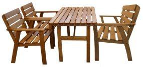 Holz Sitzgruppe Tisch+Bank+2 Stühle Kiefer eichefarben