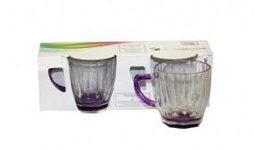 Glas - Gläser mit Henkel 2er Set 245ml violett Pasabahçe