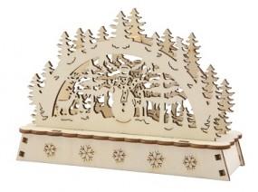W Holzbogen mini mit 1 LED, natur