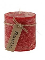 Kerze Rustic 7x7,5cm rot