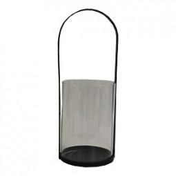 W Windlicht H35 cm, mit Glaseinsatz