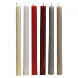 Kerze Stab Rustic 25x2 cm 4er Pack, 6 versch. Farben