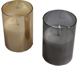 Kerze aus Glas Echtwachs Ø15 x H17,5 cm mit Timer